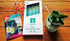 HALM Glas-Strohhalme im praktischen Starter-Set mit 4 Trinkhalmen und einer Reinigungsbürste