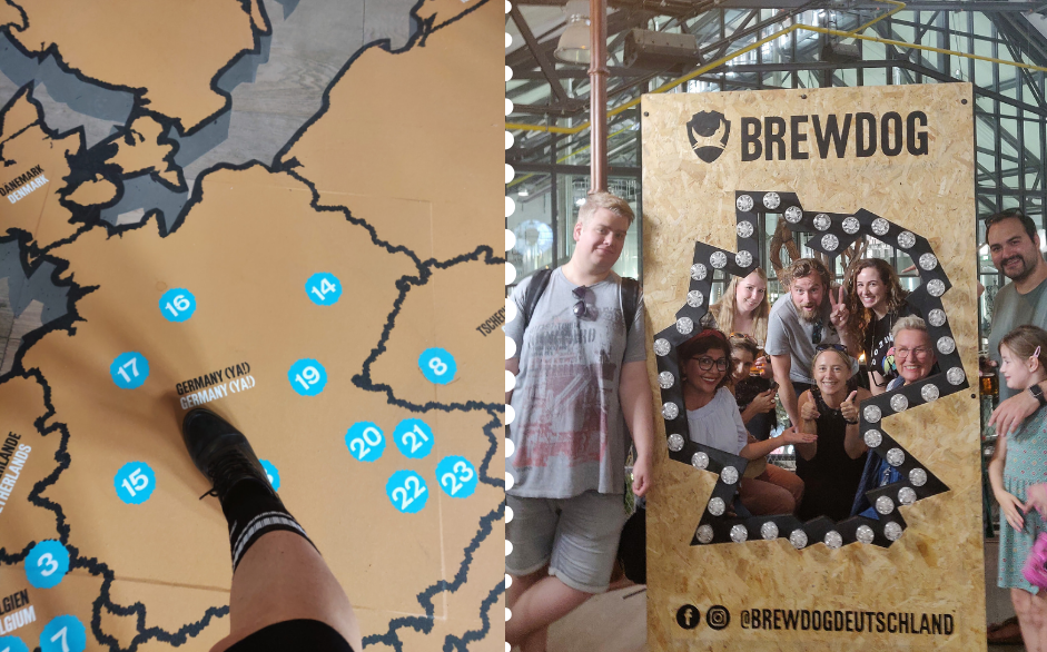 Auf der ersten Etage der BrewDog Halle: Das BrewDog Beer Museum mit einer Landkarte der Standorte und einer Fotowand.
