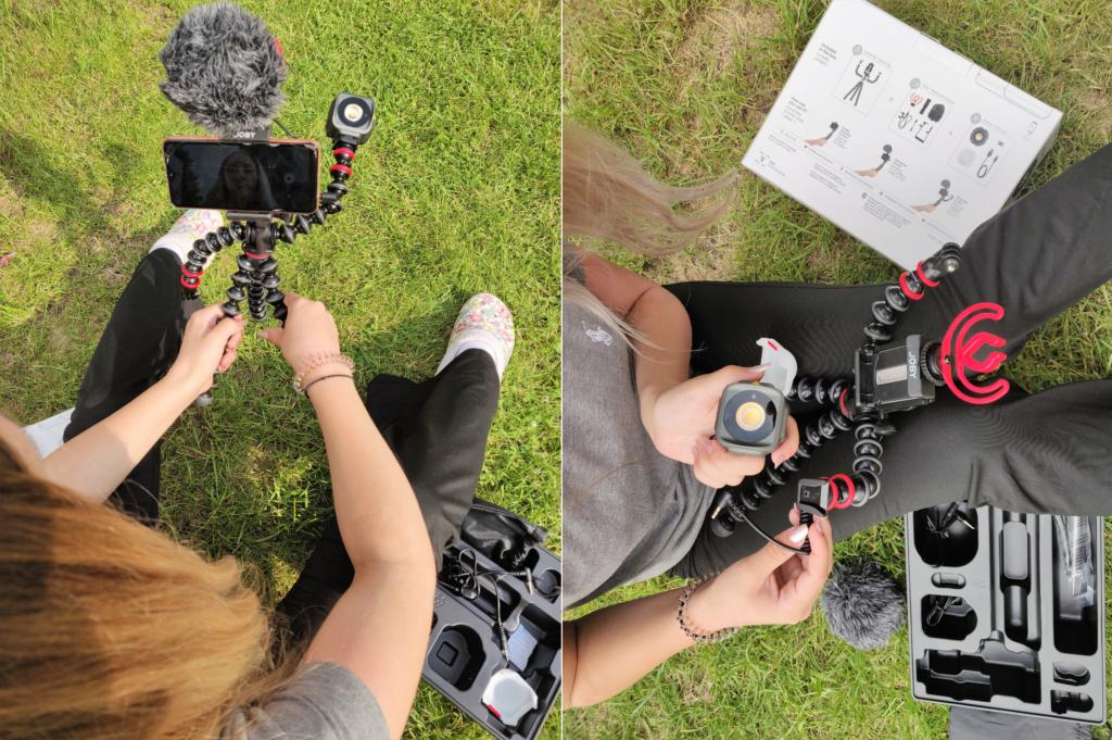 Der Aufbau des Vlogging-Kits ist einfach Dank der bebilderten Anleitung auf der Rückseite der Verpackung.