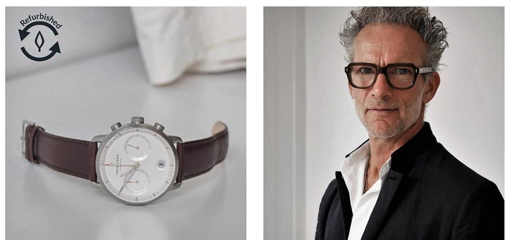 Ein Blick auf die Website - Infos über den Designer Jakob Wagner und das Thema refurbished Uhr.
